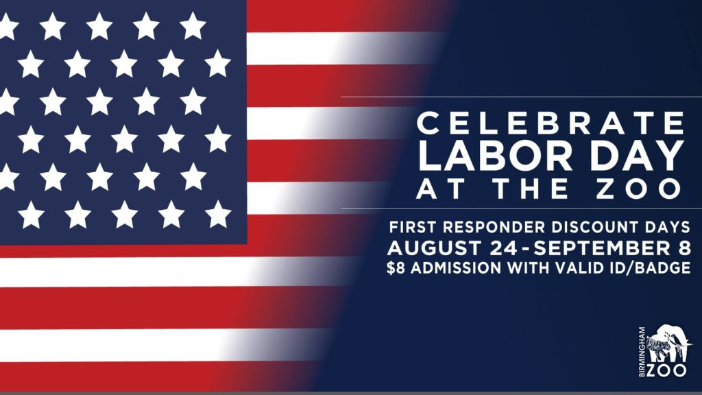 American Flag with Birmingham Zoo Labor Day schedule