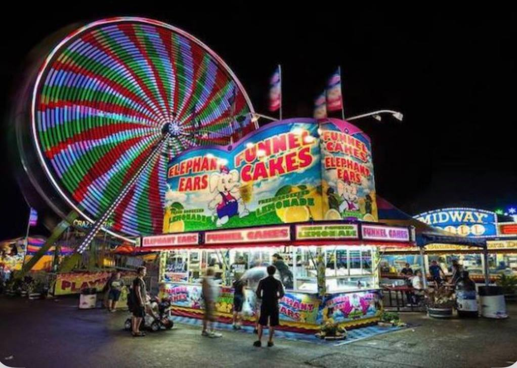 Ferris wheel and funnel cake stand