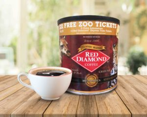 Coffee Can with coffee cup, promoting free zoo admission