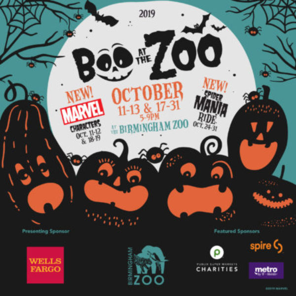 Pumpkins on a night background promoting Boo at the Birmingham Zoo