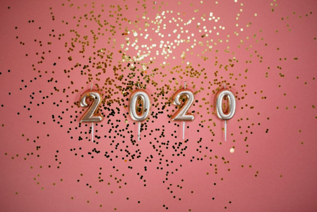 Pink Background with gold 2020 and glitter